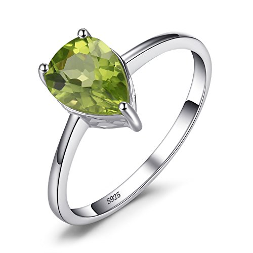 JewelryPalace 1.4ct Natural Gemstones Birthstone Green Peridot Solitaire Engagement Ring For Women For Girls 925 Sterling Silver Pear Cut Size 9 (Pear Peridot Ring)