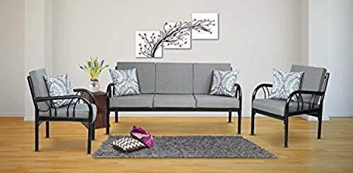 Metallika Florence Fabric 3 + 1 + 1   Grey Sofa Set By FurnitureKraft