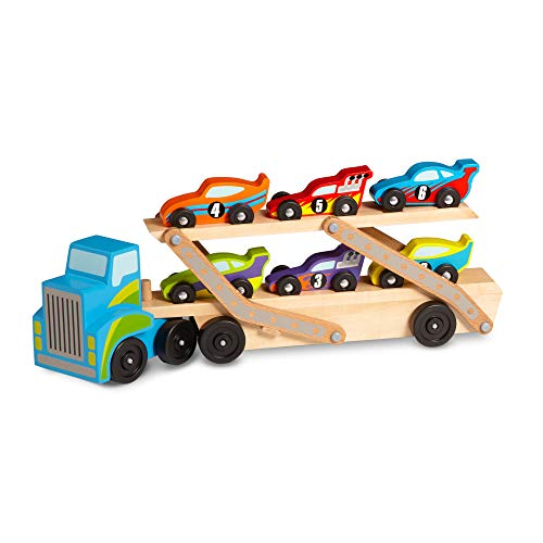Melissa And Doug Car Carrier (Melissa & Doug Mega Race-Car Carrier (Wooden Double Decker Trailer With 6 Unique Race)