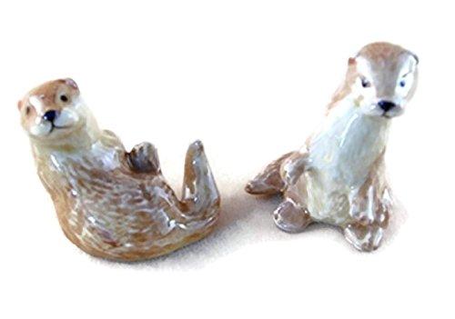 Dollhouse Miniatures Ceramic Otter FIGURINE Animals Decor by ChangThai Design ()