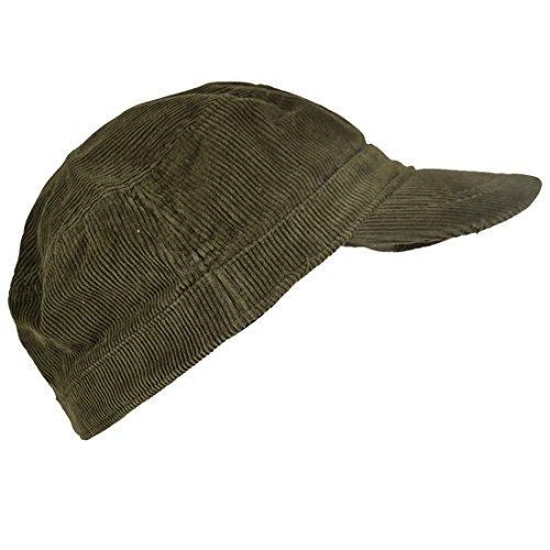 Landana Headscarves Corduroy Military Hat Olive Green Cadet - Corduroy Hat Mens