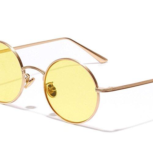 Cadre Jaune Rondes Miroir De Soleil Protection Métallique Lunettes UV 400 Rétro MagiDeal Tfqwp6f