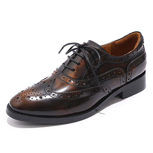 Mona flying Womens Leather Perforated Brogue Wingtip Derby Saddle Oxfords Shoes for Womens ladis Girls Yellow-Black