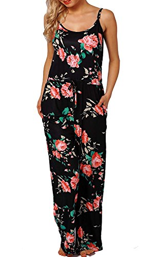 AMiERY Women Rompers Flowers Jumpsuits for Womens Pajamas Wide Leg Long Lounge Pants Rose Halter Sleeveless Jumpsuits (XXL, Black)]()