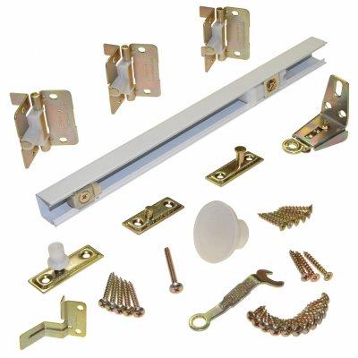 Johnson Hardware 1700 Series 30 in. Track 2-Panel White Bi-Fold Hardware Set (Operating Track)