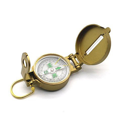 Magnetic Golden Spiral North Compass Multi-function Military Brass Army Compass Pocket Watch Flip-Open Compass Metal Sighting Classic Waterproof Camping Compass Emergency Tool Compass Navigation