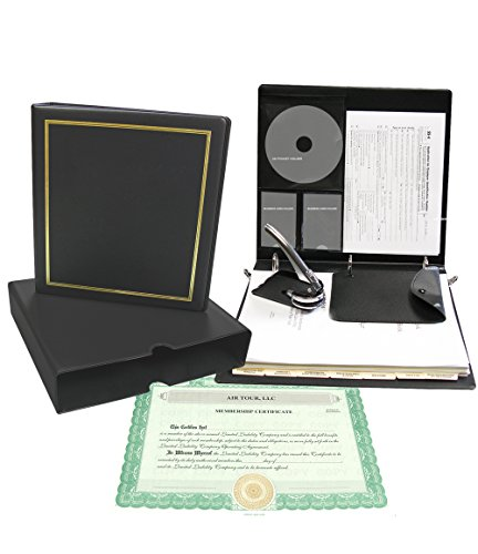Corpkit Customized Thriftkit Corporate Kit with Operating agreement, Black Binder, Slipcase, Limited Liability Seal, Membership Certificates with Transfer Ledger-(LLC)