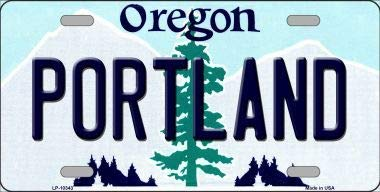 Portland Oregon Background Metal Novelty License Plate (Sticky Notes)