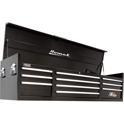 Homak H2PRO Series 72-Inch 10-Drawer Top Chest, Black ,BK02010720 - 72 Series Casters