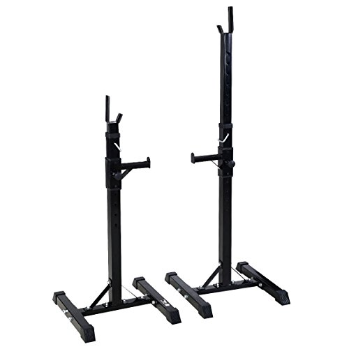 Set of 2 Adjustable Standard Solid Steel Squat Stands Gym Barbell Rack Free Bench Press Stands by ECOTRIC