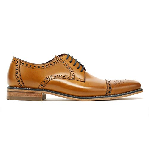 6 UK EU Spitzen Formale Tan Burnished Sich Schuhe Mens Foley Loake 40 Ywgfq