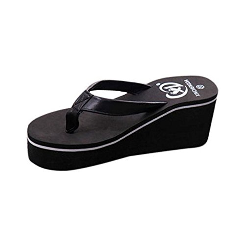 Sandals Muffin Hausschuhe Keil Schwarz Bohemian Sandalen Damen LHWY Frauen Schwarz High Flip Flops Jungen Sommer Slope Absatz mit Wasserdicht Vintage TqRPwAx