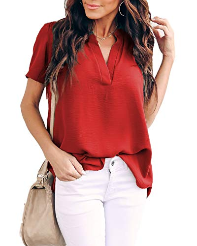 - Allimy Women Summer Casual Short Sleeve V Neck Chiffon Blouses Fashion 2019 Tops Large Red