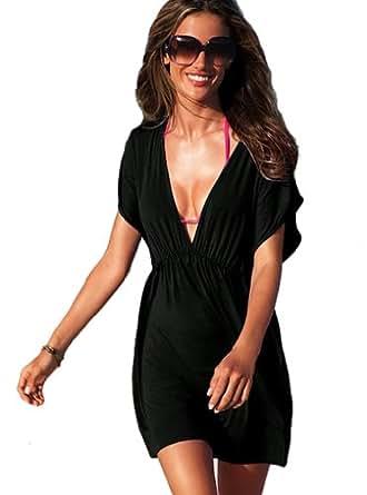 V-Shape Cover Up Beach Dress - Small/Medium - Black