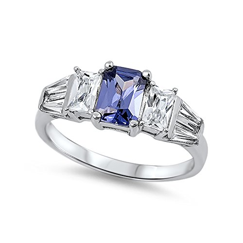 Wedding Engagement Ring Radiant Cut Simulated Blue Tanzanite Baguette CZ 925 Sterling Silver ()