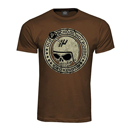 King Kerosin T-Shirt Old School Hot Rodder in Braun