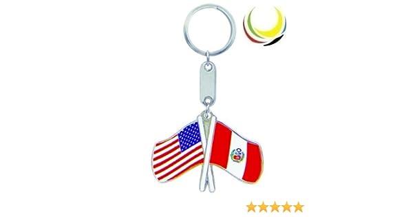 Keychain USA-PERU FLAGS
