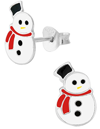 Hypoallergenic Sterling Silver Little Christmas Snowman Stud Earrings for Kids (Nickel (Sterling Silver Snowman)