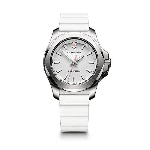 Victorinox Swiss Army Women's I.N.O.X. Stainless Steel Swiss-Quartz Watch with Rubber Strap, White, 18 (Model: 241769)