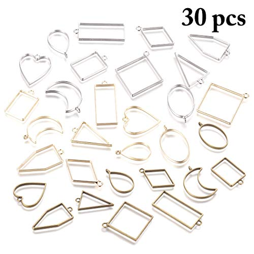 Frame Pendants, Outgeek 30PCS Bezel Charms Pendants Open Back Bezel Pendants Hollow Mold Pendants Assorted Geometric Hollow Pressed Flower Frame Pendant DIY Crafts for Resin Earrings Necklace Bracelet