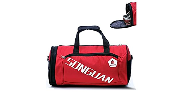 2617f05922b6 Amazon.com   Yunqir Multi-function Large Capacity Gym Bag Sports Holdall  Travel Weekender Duffel Bag with Shoe Compartment for Men and Women(Red)    Sports   ...