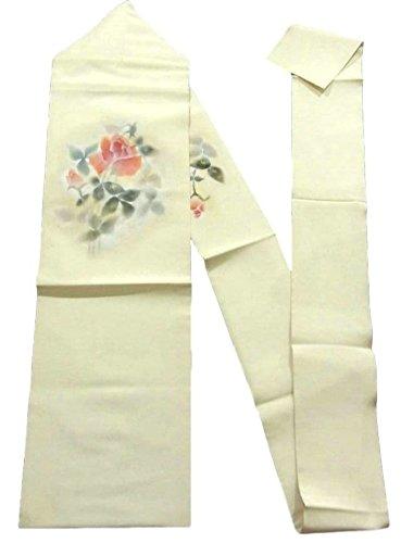 青写真タウポ湖前文リサイクル 名古屋帯 塩瀬 バラの花