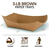 """Paper Food Boats (250 Pack) Disposable Brown Tray 3 Lb - Eco Friendly Brown Paper Food Trays 5"""" x 3"""" – Serving Boats for Concession Stand Food"""