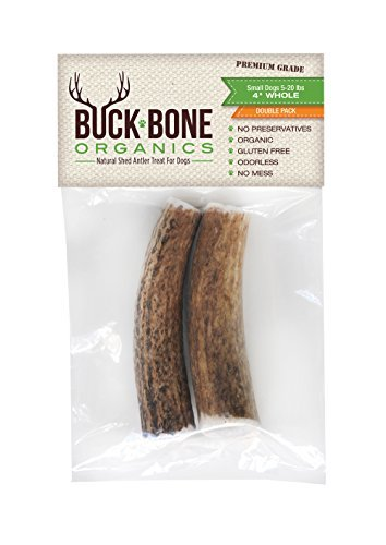 Buck Bone Organics Antlers for Dogs, Premium Grade A, All Natural, Long Lasting Treat, Double Bag Size Small 4 Length. Made in The USA