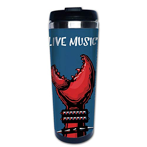 Stainless Steel Insulated Coffee Travel Mug,Wristbands Heavy Rock Live Music Performance Inscription,Spill Proof Flip Lid Insulated Coffee cup Keeps Hot or Cold 13.6oz(400 ml) Customizable printing