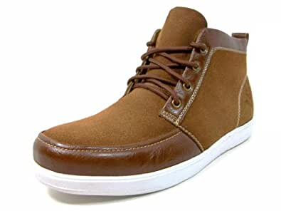 Mens Brown Trendy Casual Sneakers Ankle High Boots Lace Up Style Size 9