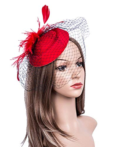 Abaowedding Feather Fascinator Cocktail Party Hair Clip Pillbox Hats (Red)