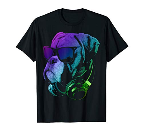 Cool Boxer Dog With Sunglasses And Headphones T-Shirt