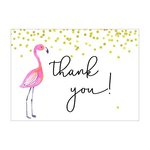 Set of 12Thank You Notes and Envelopes with Tropical Flamingo in Pink and Gold CTY020
