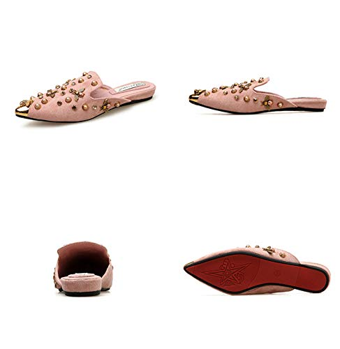 Durable Antideslizante Punta De Abeja Linda Sandalias Metal Cuero Perla Cabeza Mujer Pink Zapatillas Respirable Verano En Ante SU78xqww