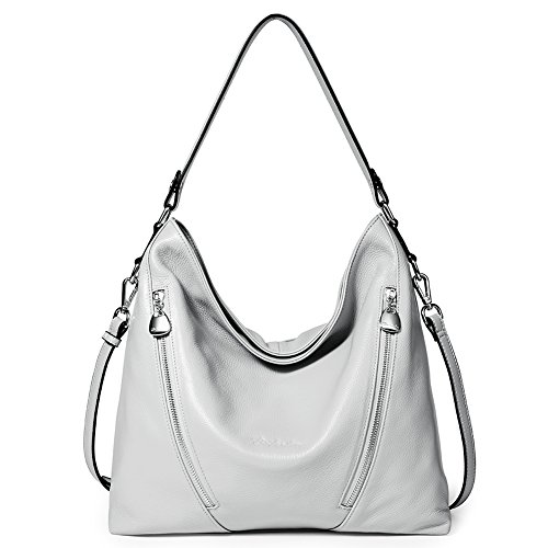BOSTANTEN Women Leather Handbag Designer Large Hobo Purses Shoulder Bags Grey ()