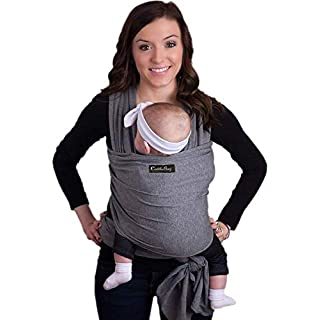 CuddleBug Baby Wrap Sling + Carrier - Newborns & Toddlers up to 36 lbs - Hands Free - Gentle, Stretch Fabric - Ideal for Baby Showers - One Size Fits All (Grey)