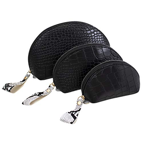 YOMXL 2019 New 3PC Cosmetic Bag Fashion Crocodile Pattern Clutch Bag Temperament Purse ()