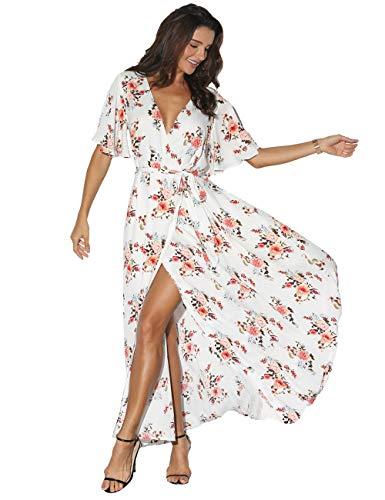 Azalosie Women Wrap Maxi Dress Floral Short Sleeve Flowy Slit Tie Waist Summer Beach Party Wedding White-red