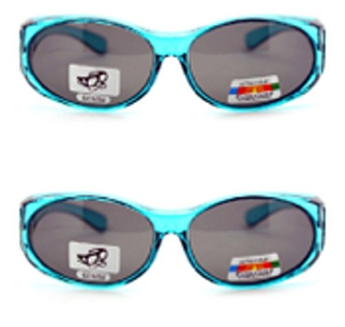 2 Pair of Women's Polarized Fit Over Oval Sunglasses - Wear Over Prescription Glasses (2 Blue) 2 Carrying Cases - Glasses Which Sunglasses Fit Over Regular