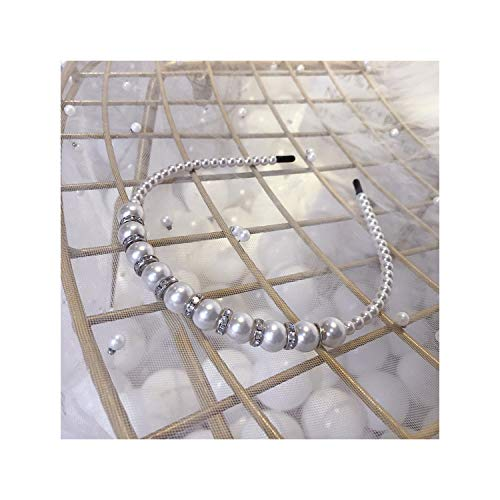 Exquisite Big Pearls Hairbands Women Shiny Rhinestone Hair Hoop Headband,Silver