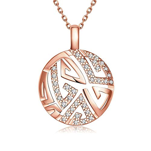 Sterling Silver Earrings Choker Necklace Popular Copper Singapore Chain Twist Pendant Necklace Rose Gold Rolo Chain Female Round Pendant Zircon Necklace, LOt, Rose Gold