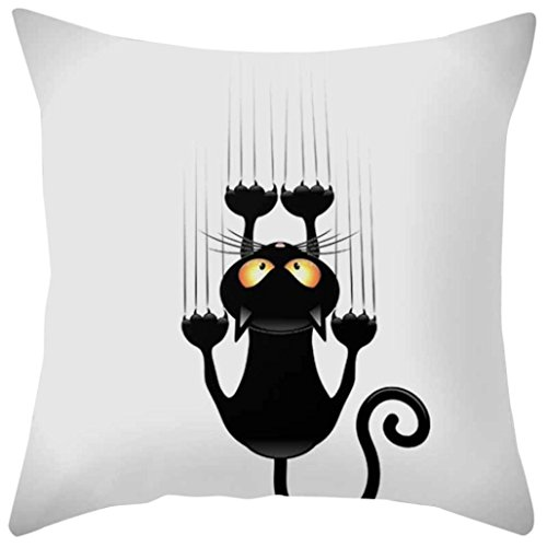 Freshzone Cat Cartoon Pillow Cover,Square Pillowcase Home Decoration Car Sofa Bedroom Cushion Cover (A)