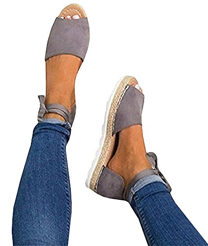 FISACE Womens Summer Espadrille Ankle Strap Flat Sandals Peep Toe Flip-Flop Shoes (B(M) US 10 | 42, Grey)