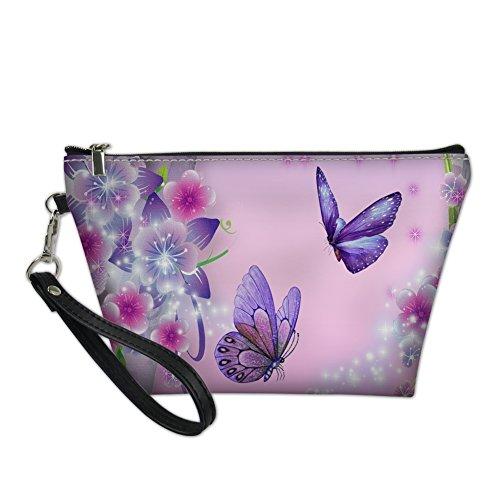 HUGS IDEA Women Pink Makeup Bag Butterfly Pattern Stylish Toiletry Storage Pouch Travel Ckutch Bag