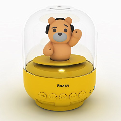 Speaker for kids, SHABA bell Jar animal pet mini Bluetooth speaker with microphone, wireless cute musical toys for Party, home, bedroom, office (Yellow Teddy ()