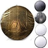 """Andoer 43"""" 110CM 5 in 1 Reflector (Translucent, Silver, Gold, White, and Black) Pro Premium Grade Collapsible Disc Soft Round Portable Collapsible Multi Disc Light Photographic Lighting Reflector for Studio or any Photography Situation"""