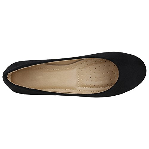 Stiefelparadies Klassische Damen Ballerinas Slippers Flats Übergrößen Flache Schuhe Metallic Spitze Glitzer Abendschuhe Flandell Schwarz Berkley