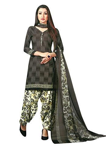 Ladyline Ready to wear French Crepe Printed Salwar Kameez Suit Indian Pakistani Dress (Size_36/ Dark Brown) ()