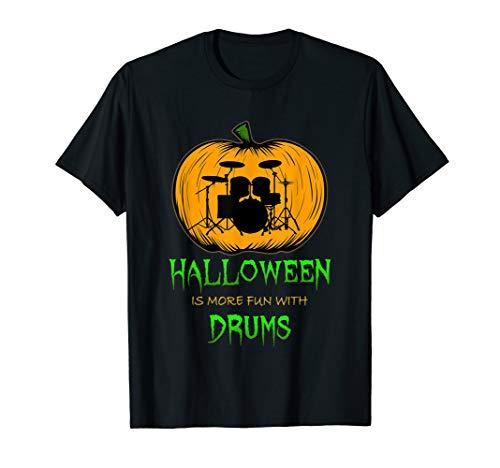 Drumset Pumpkin Carving Halloween Clip Art Silhouette T-Shirt -