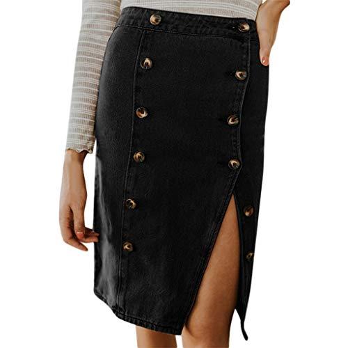 Sunhusing Women's Solid Color Hip Skirt Button Buckle Split Sexy Skirt Elastic Denim A-Line Cut Skirt